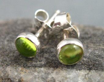 Petite Peridot Post Earrings, 4mm Peridot Studs, Artisan Earrings, Handmade Earrings, Small Peridot Studs
