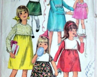 Vintage 60's Simplicity 6811 Sewing Pattern, Girls' One-Piece Empire Dress, Collar Variations, Size 6, 1960's Fashion
