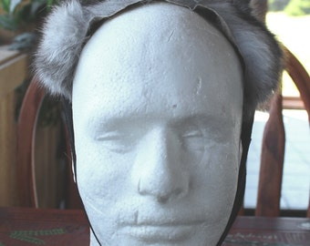 Fox ears headdress - real eco-friendly gray dyed Arctic fox fur ears costume for ritual and dance