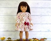 Harvest Leaves Fall Floral Print Doll Dress, fits 18 inch doll, reconstructed M2M Gymboree
