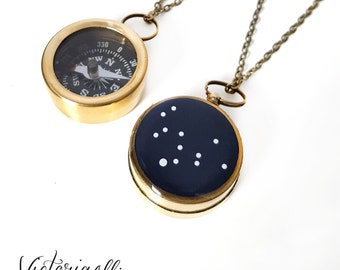 Virgo Zodiac Constellation Necklace, Small Working Compass, Brass Chain, Pocket Compass, Bridal Party, August September Birthday Gift