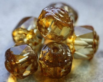 OPULENT AMBER .. 6 Premium Picasso Cathedral Czech Glass Beads 8mm (4595-6)