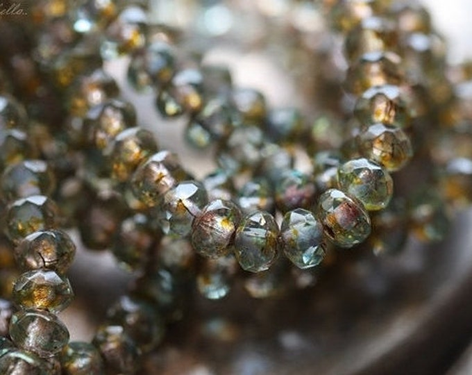 GOLDEN POND BABIES .. 30 Premium Picasso Czech Glass Rondelle Beads 3x5mm (4262-st)