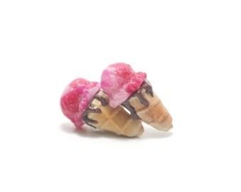 Strawberry and Chocolate Ice Cream Stud Earrings, Miniature Food Jewelry, Polymer Clay Food Jewelry