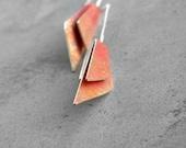 Folded Wings - Rusty and Golden - sterling silver, brass patina earrings, dangle earrings, geometric earrings, long earrings, made in Italy