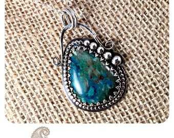 Chrysocolla Gemstone Necklace - Fine Silver- Artisan OAK