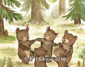 Children's Art -- Bear Dance -- Archival Art Print