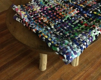 Community Potholder Handwoven Rug, Cotton and Wool Rug, Community Pot Holder Rug, Great Barrington Fairgrounds Potholder Rug 2.5x 5.5ft