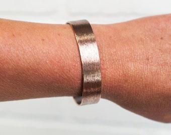 """Brushed Cuff, 1/2"""" copper cuff, cuff, copper jewelry, copper, brushed metal, metal cuff, brushed, copper bracelet, stacylynnc, handmade"""