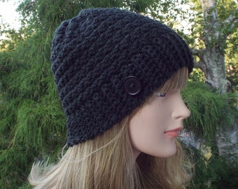 Womens Beanie, Black Crochet Hat, Winter Hat with Button, Ski Hat, Textured Hat, Winter Accessories
