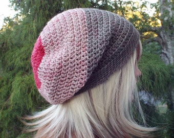 Gray and Red Slouchy Beanie, Womens Crochet Hat, Boho Slouchy Hat, Slouch Beanie, Oversized Hipster Hat, Slouch Hat, Baggy Beanie