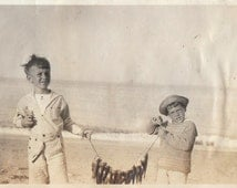 Original Vintage Photograph Snapshot Boys Pose With Fish Catch 1910s
