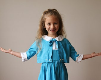1950s Teal Bolero & Dress Set~Size 4t/5t