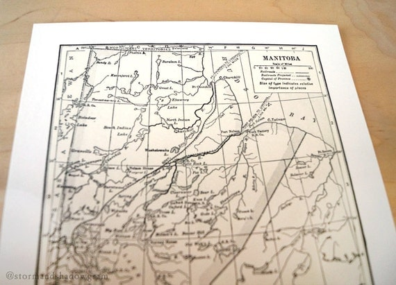 Manitoba Antique Map Print on Eco Bamboo paper Canadian Made in Canada Prairies Prairie Central Province