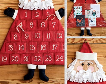 Santa Advent Calender & Christmas Card Holder PDF sewing epattern - create a countdown to Christmas or card holder with a jolly Santa face