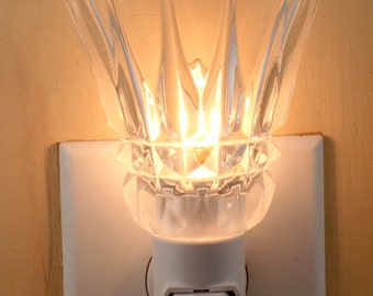 "Tall 3 1/4"" High Clear Glass Crystal Look  Custom Made Night Light"