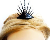 Spike punk Clock hand Tiara black steampunk Neo Victorian gothic Tiara perfect for that unique bride or elegant tea party