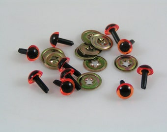 Toy Safety eyes 7mm Amber animal eyes with washers available in packs of 10, 50 or 100 eyes and washers