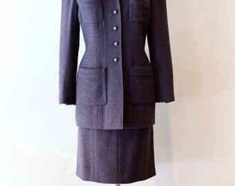 Vintage Chanel Ladies Suit ~ Vintage Metallic Wool Suit By Chanel Size Large