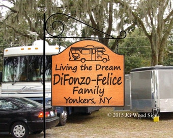 RV Camping Sign -Living the Dream - Travel Trailer Design with camping sign holder - Custom RV Sign JG Wood Signs Wood Camping Sign DiFonzo