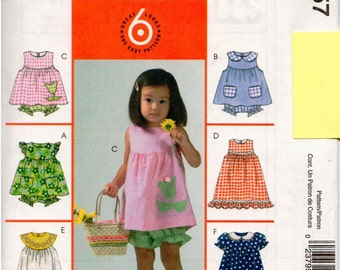 McCall's UNCUT Pattern M4757 - Toddlers' and Children's Summer Top, Dress, Panties and Handbag - 4-6