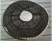 Victorian Lace, Black Wide Cuff Ruffle Lg Round, silk thread handmade antique wide trim