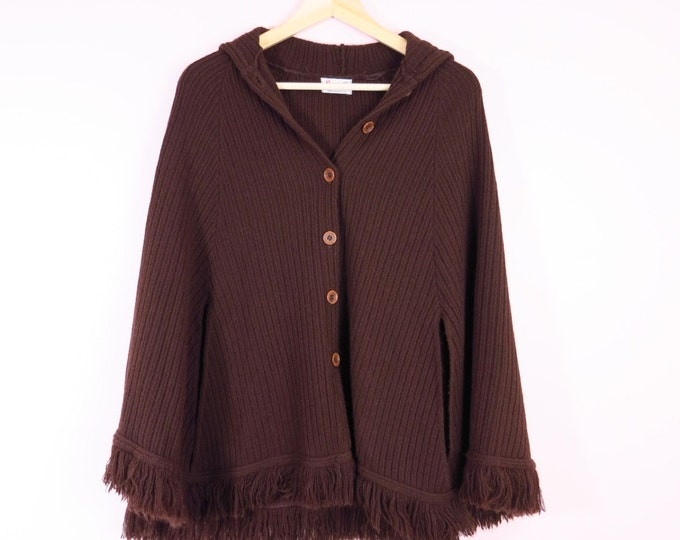 1970s Brown Sweater Cape with Hood
