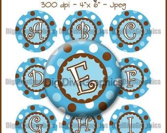 Blue Polka Dot Alphabet Bottle Cap Images 1 Inch Circles Digital JPG A-Z - Instant Download - BC1053
