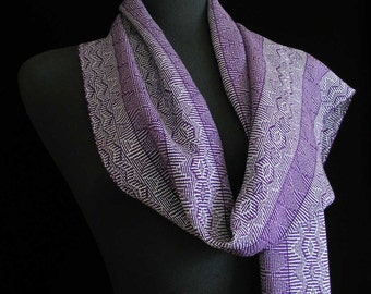 Handwoven Scarf Purple Scarf Long Scarf Tencel Soft Handmade Spring Scarf by FiberFusion - Purple Mist