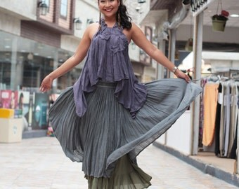 Sweet spot...2 layers full maxi skirt...Linen/cotton  Colour No.4/No.17 M,L,XL