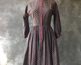 1950's Lanz black and red calico print