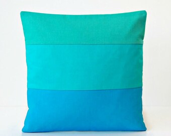 16 inch jade turquoise azure blue colour block cushion cover, solid accent linen decorative pillow cover 40 cm