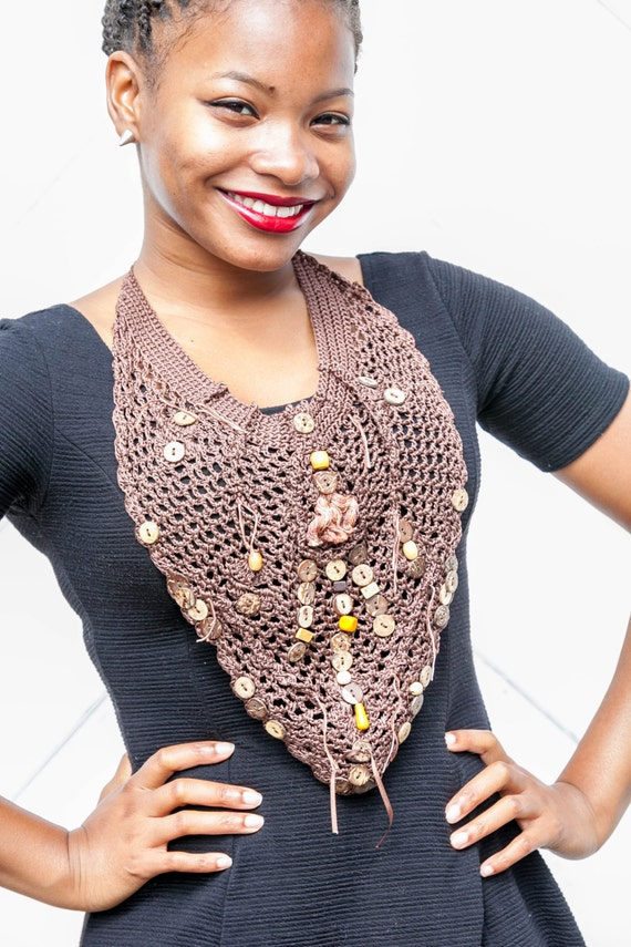 Tribal Cocoa Brown Scarf Cognac Tan Beaded Bib Upcycle Kerchief Scarf