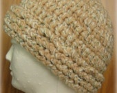 SALE -- Thick Marbled Cap in Beige, White with Multi Flecks - Large
