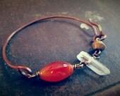 Halfsies No.16 - Half Wire Bracelet with Carnelian Quartz and African Bronze Bead