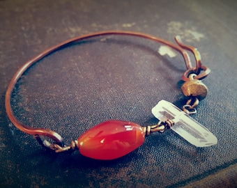 Halfsies No.16 - Half Wire Bracelet with Carnelian Quartz and African Bronze Bead