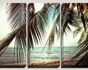Sale Canvas Art, Custom Designed, Wall Panels, Brown, Turquoise, Palm Trees, Triptych Canvas, Decorations, Vintage, Beach, Sand, Photography