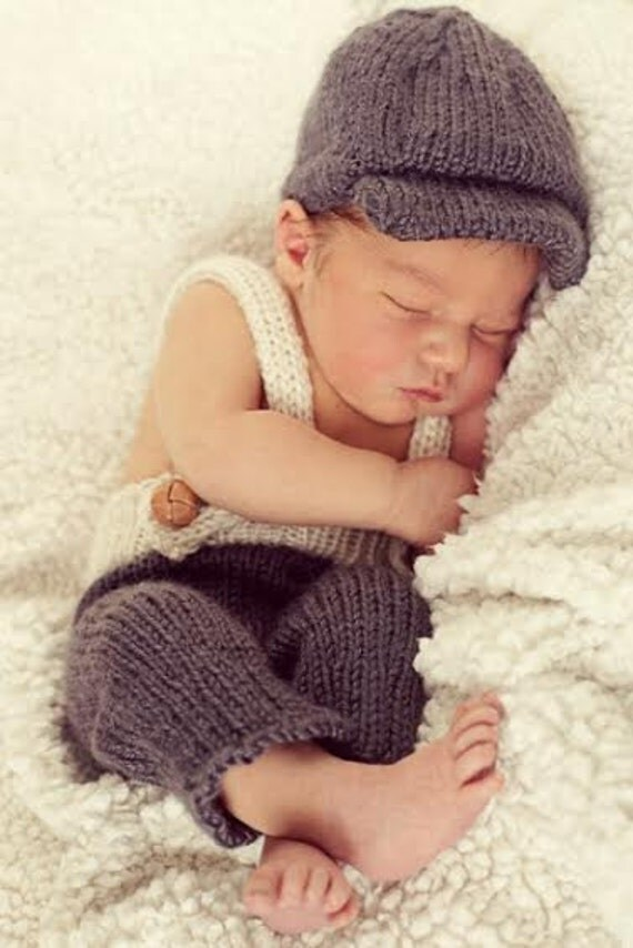 Knitted Baby Boy Hat Patterns : Newsboy Cap & Suspenders Set Knitting Pattern Instant Download