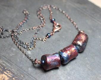 Raku Clay Bead Necklace Antiqued Copper Jewelry Rustic Jewelry