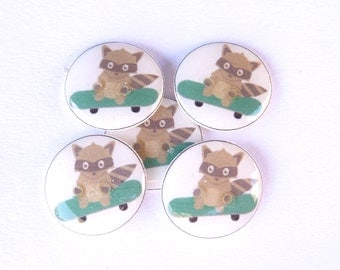 """5 Raccoon on Skate Board Buttons.  3/4"""" or 20 mm round Buttons for Sewing. Washer and Dryer Safe."""
