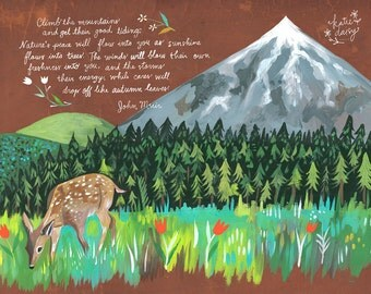 Climb The Mountains Art Print | John Muir Quote | Nature Wall Art | Outdoorsy | Hand Lettering | Katie Daisy | 8x10 | 11x14
