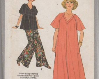 Simplicity 8771 Womens Pullover V Neck Caftan Top and Wide Leg Pants Pattern Womens Sewing Pattern Size 40 42 44 46  Bust 44 46 48 50 UNCUT