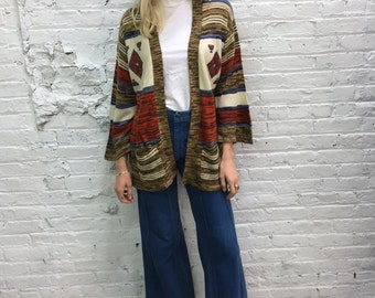 vintage 70s space dye sweater / southwest hippie cardigan / 70s sweater 70s cardigan / bell sleeves