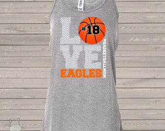 Basketball mom ATHLETIC HEATHER flowy tank top chevron LOVE - great gift for birthday or Mother's Day
