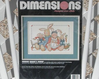 Farmer Rabbits Family Stamped Cross Stitch Kit Vintage Dimensions Bunnies