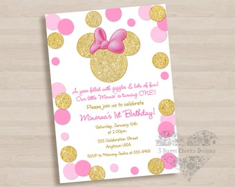 10 - PRINTED Minnie Mouse Invitations with Envelopes Pink Gold Cute Girl Birthday Party Personalized