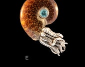 Fossilized Ammonite Nautilus Necklace with 5mm Gemstone Nautilus Jewelry Tentacle Jewelry Tentacle Ammonite Jewelry Moonstone Apatite