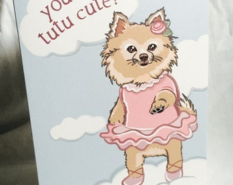 Pomeranian Ballerina Greeting Card