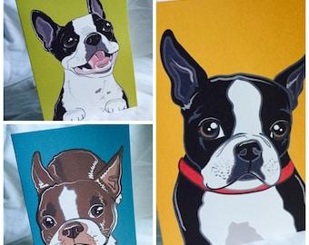 Bright Boston Terrier Greeting Card Trio