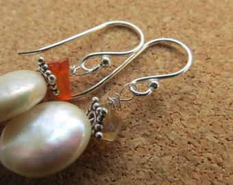 fresh water coin pearl and fire opal silver earrings